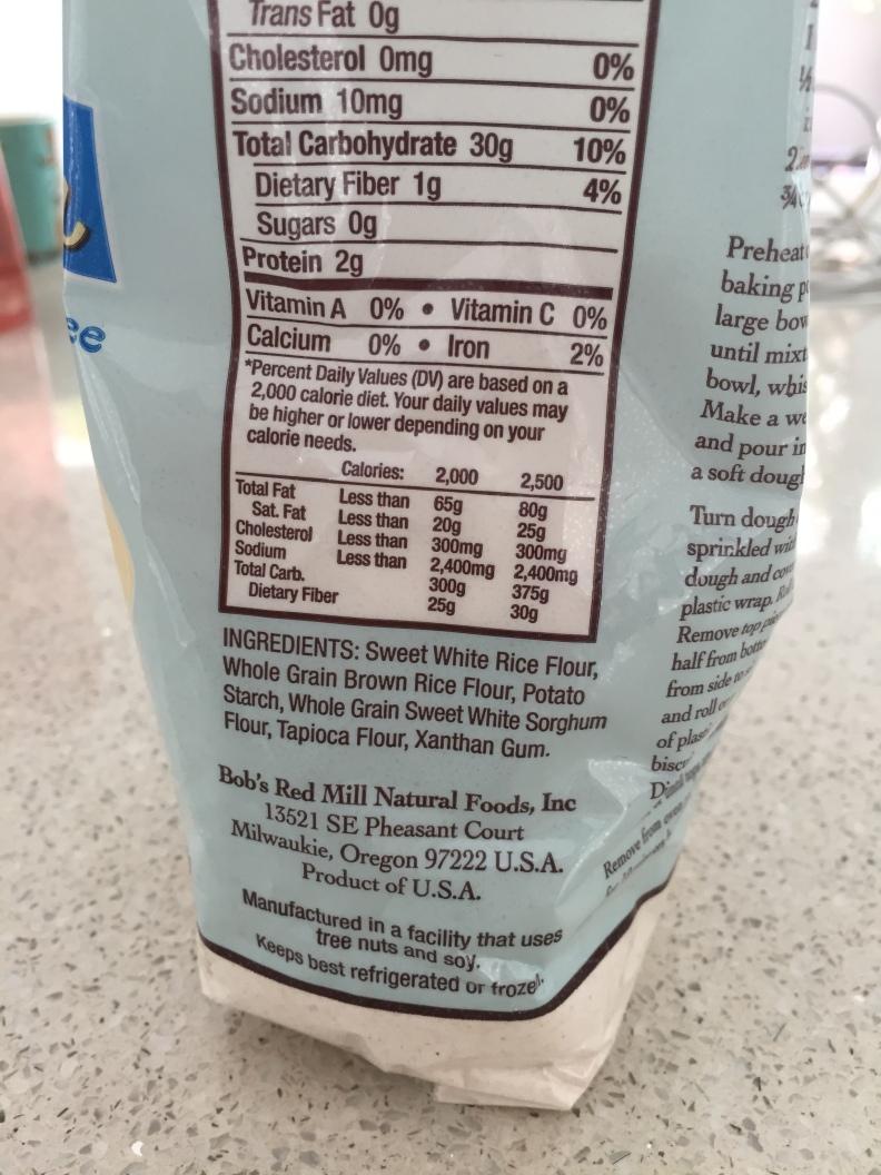 Glutenfree flour ingredients